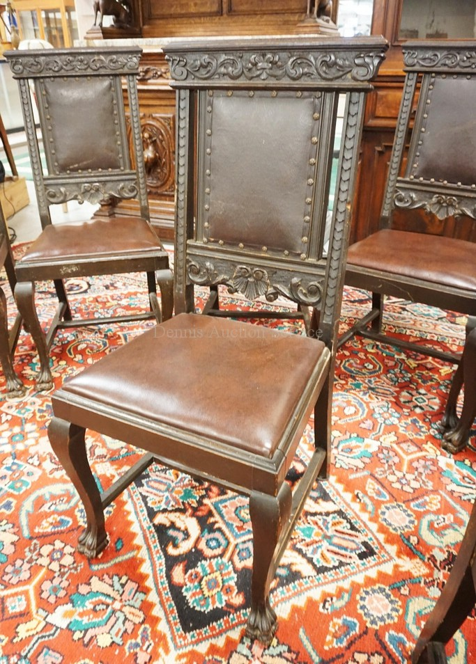 antique carved oak dining room set with paw feet carved doo