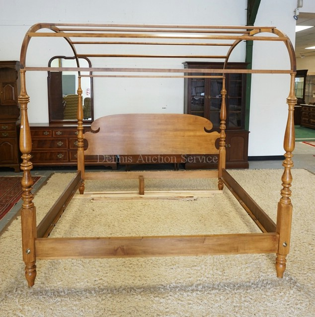 ethan allen king size canopy bed with baluster turned posts