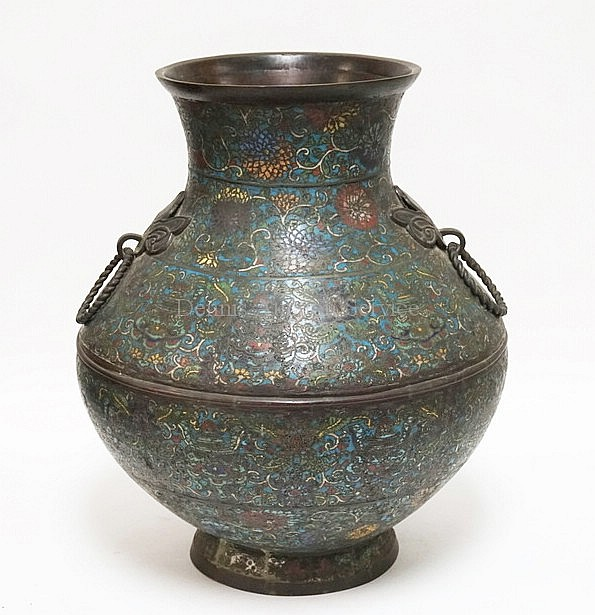 LARGE ASIAN BRONZE CHAMPLEVE FLOOR VASE WITH RING HANDLES. 2