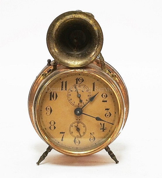Unusual Alarm Clock With A Horn Top Made In Wurttemberg 7