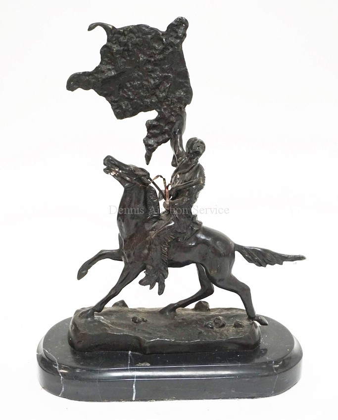Frederic Remington Buffalo Signal Bronze Sculpture 15 Inc