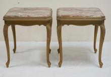 PAIR OF CARVED AND GOLD GILT MARBLE TOP TABLES. 25 1/2 INCHES SQUARE. 29 INCHES HIGH.