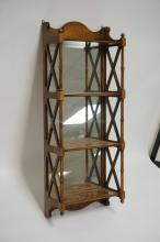 WALNUT 4 TIER HANGING SHELF WITH A MIRRORED BACK, TURNED COLUMNS, AND OPENWORK SIDES. 13 1/4 INCHES WIDE. 34 INCHES HIGH.
