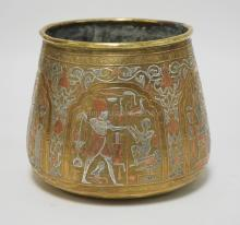 EGYPTIAN MIXED METALS VESSEL IN BRASS, SILVER, AND COPPER. HAND MADE WITH VERY FINE DETAIL. 6 1/2 INCHES HIGH. 7 1/4 INCHES WIDE.