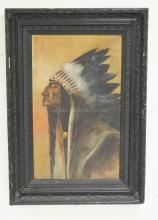 OIL PAINTING ON CANVAS OF A NATIVE AMERICAN INDIAN CHIEF. 35 1/2 X 21 1/2 INCHES. SIGNED LOWER RIGHT *REISSNER 1918*. HAS REPAIRED TEARS. FRAME HAS LOSSES.
