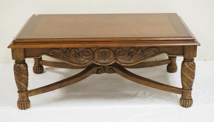 Carved coffee table with a stretcher base 50 x 32 inch top for 50 inch coffee table