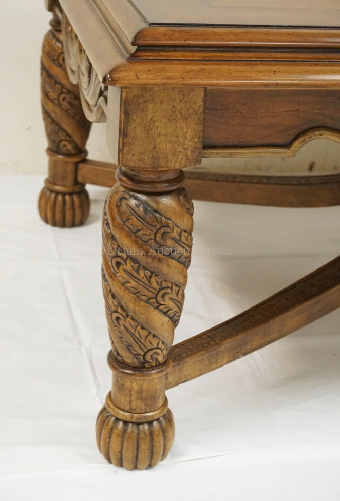 Carved Coffee Table With A Stretcher Base 50 X 32 Inch Top