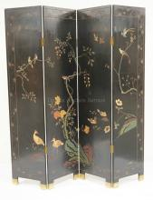 ASIAN FOLDING SCREEN DECORATED WITH BIRDS AND A FLOWERING TREE. 72 INCHES HIGH.