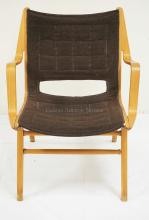FRITZ HANSEN DANISH MODERN ARMCHAIR IN BIRCH AND TEAK. 24 3/4 INCHES WIDE. 31 INCHES HIGH.
