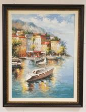 CONTEMPORARY OIL PAINTING ON CANVAS OF BOATS BY A CONTINENTAL CITY SHORE. 35 1/2 X 47 1/2 INCHES.