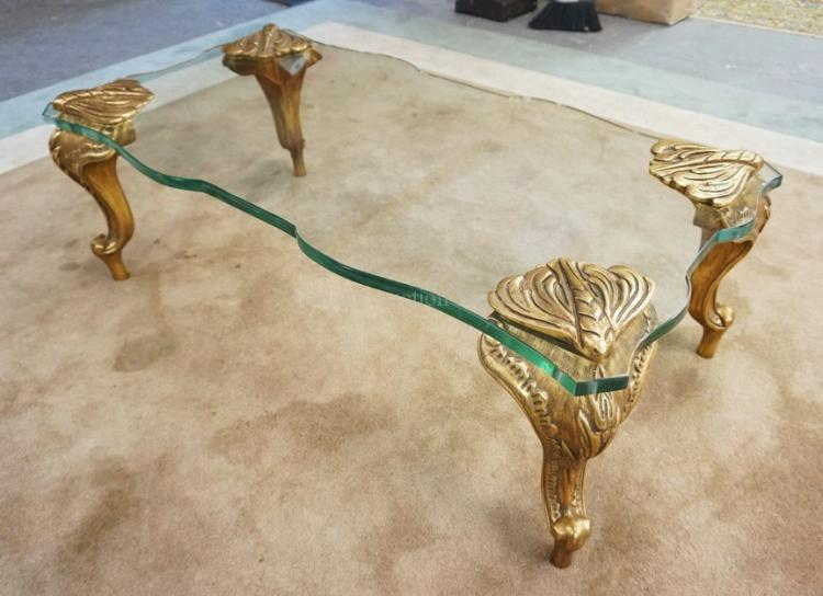 Glass top coffee table with gold gilt legs 48 x 24 inch top for Coffee tables 16 inches high