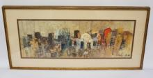 GOUACHE PAINTING OF CITY BUILDINGS. SIGNED LOWER RIGHT. 9 X 26 1/2 INCHES.