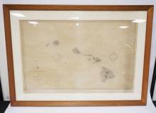 FRAMED MAP OF THE HAWAIIAN ISLANDS. 49 1/4 X 35 1/2 INCHES.
