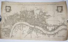 UNFRAMED MAP OF LONDON IN 1707. *PRINTED FOR R. CHISWELL, A & J CHURCHILL, THO HORNE, J NICHOLSON, AND R. KNAPLOCK. 23 3/8 X 13 1/2 INCHES.