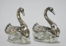 PAIR OF GLASS AND 800 SILVER SWAN SALT DIPS. 2 3/4 IN H