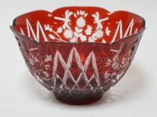 RUBY CUT TO CLEAR DEEP BOWL W/ FLOWERS AND DRAGONFLIES. 10 IN DIA, 6 IN H