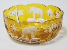 AMBER CUT TO CLEAR LIM. ED. BOWL W/ ELEPHANTS SIGNED MAGDA NEIMETH, DESIGN GUILD. NO. 40 OF 500. 8 3/4 IN DIA, 4 IN H