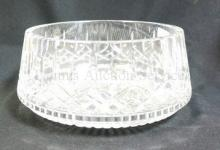 SIGNED WATERFORD LARGE CUT CRYSTAL BOWL. 8 5/8 IN TOP DIAMETER.
