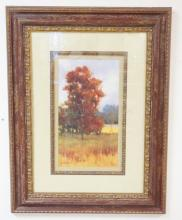 FRAMED LIM ED GICLEE BY KIM COULTER- AUTUMN LANDSCAPE. 9 1/2 IN X 17 1/2 IN. HAS CERT. AND ARTIST'S BIO ON BACK. NO 299 OF 1120