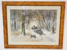 WATERCOLOR IN A BURL FRAME SIGNED HUGO FISHER. HORSE DRAWN LOGGING SLED ON A SNOWY FOREST PATH. 27 1/4 IN X 19 3/4 IN