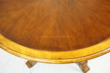 BANDED PEDESTAL DINING TABLE W/ ONE 18 IN LEAF. 48 IN DIA CLOSED