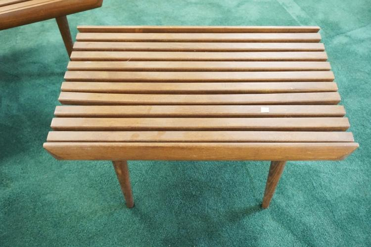 3 piece mcm slatted bench set largest is 48 x 19 inches. Black Bedroom Furniture Sets. Home Design Ideas