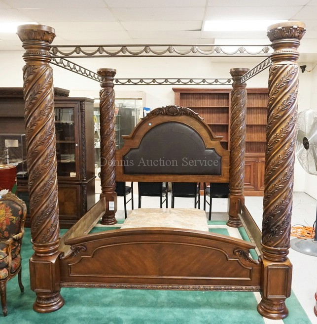 Large And Heavily Carved King Size Canopy Bed By Ashley Furn