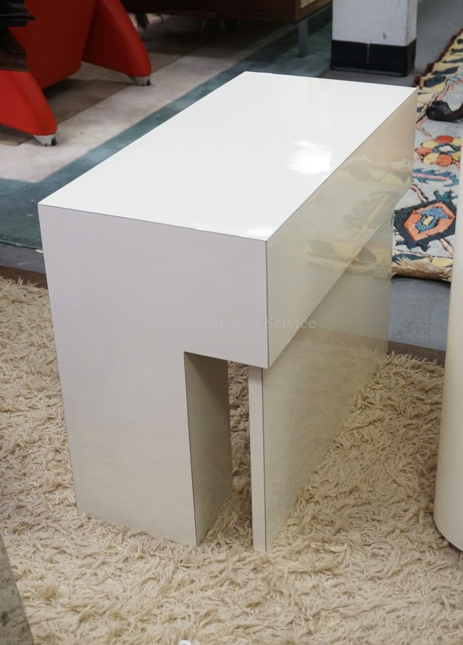 Modern end table in white 19 inches high 12 inches wide for 12 inch high table