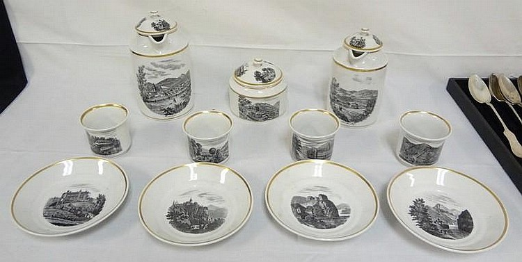 11 PC GOLD TRIMMED BLACK TRANSFER TEA SET W/GOLD