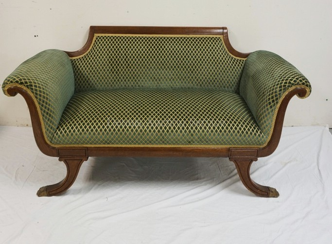 Federal Style Walnut Sofa With Brass Paw Feet 60 Inches Wid