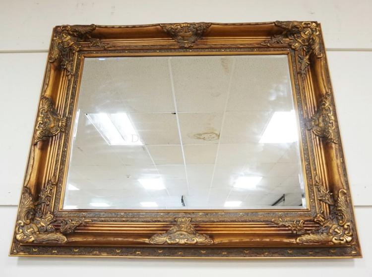 Large Gold Frame Mirror: LARGE DECORATIVE WALL MIRROR WITH AN ORNATE GOLD GILT FRAME