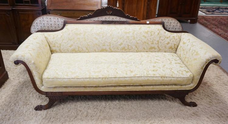 federal style carved sofa with paw feet 85 inches long. Black Bedroom Furniture Sets. Home Design Ideas