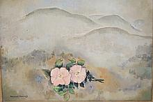 MANUEL KOMROFF (1890-1974) OIL ON BOARD PAINTING TITLED *WILD ROSES IN THE MOUNTAINS*. 19 3/4 X 15 3/4 INCHES.