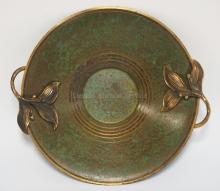 CARL SORENSEN BRONZE BOWL WITH LEAF FIGURED HANDLES. 13 INCHES WIDE. 2 1/2 INCHES HIGH.