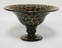 LAURIE GATES CERAMIC FOOTED CENTER BOWL. 13 INCH DIA. 7 3/4 INCHES HIGH.