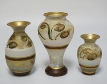 LOT OF 3 MURANO GLASS VASES WITH HAND PAINTED DÉCOR. TALLEST IS 8 INCHES.