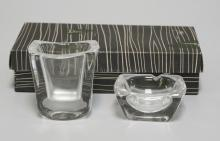 DAUM FRANCE CLEAR CRYSTAL CIGARETTE HOLDER AND ASHTRAY WITH ORIGINAL BOX.