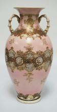 LARGE JAPANESE SATSUMA VASE MEASURING 17 3/4 INCHES HIGH. HAS WEAR TO THE GOLD ON THE HANDLES. DRILLED TO BE A LAMP.