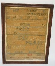 EXTREMELY RARE 1827 SAMPLER BY ANNE CAROLINE STUART OF BELVIDERE ACADEMY IN WARREN COUNTY NJ. ANNE CAROLINE STUART BORN DEC 11, 1817 - DIED MAY 7, 1901. 11 X 15 INCHES.