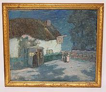 ALETHEA H. PLATT (1861-1932) OIL PAINTING ON CANVAS OF A MOONLIT HOUSE WITH FIGURES. 25 X 30 INCHES. SIGNED LOWER LEFT. LAST SOLD AT CHRISTIES ON 10/7/1987.
