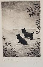 MARGUERITE KIRMSE (1885-1954) ETCHING TITLED *TOP O' THE MORNING* OF TWO SCOTTIES WATCHING A SUNRISE. 3 3/4 X 5 3/8 INCH IMPRESSION.