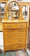 OAK HIGH CHEST OF DRAWERS WITH MIRROR. 72 INCHES HIGH. 33 INCHES WIDE.