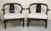 PAIR OF BLACK LACQUERED ARMCHAIRS WITH UPHOLSTERED SEATS AND BRAS MOUNTS. MADE BY *CENTURY*. ONE ARM REST HAS A SMALL GOUGE.
