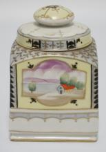 IMPERIAL NIPPON PORCELAIN HUMIDOR WITH HAND PAINTED SCENES. 7 INCHES HIGH.