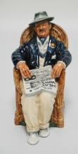 ROYAL DOULTON *TAKING THINGS EASY* HN2677 PORCELAIN FIGURE OF A MAN RESTING IN A CHAIR WITH A NEWSPAPER. 7 INCHES HIGH.