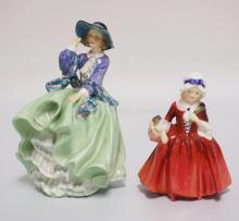 LOT OF 2 ROYAL DOULTON FIGURES. HN1955 *LAVINIA* AND HN1833 *TOP O' THE HILL*. TALLEST IS 7 1/4 INCHES.