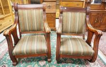 OVERSIZED MAHOGANY CHAIR AND ROCKER WITH UPHOLSTERED SEATS AND BACKS. 43 1/2 INCHES HIGH. 29 1/4 INCHES WIDE.