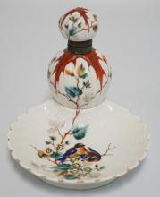 PORCELAIN INK WELL WITH ATTACHED TRAY. HAND PAINTED BIRDS IN A FLOWERING TREE. 5 INCHES HIGH.