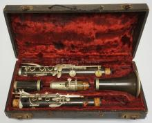 S. VALETTE FRENCH CLARINET IN CASE. PADS AND SPRINGS APPEAR TO BE INTACT. FINISH HAS SOME WEAR.