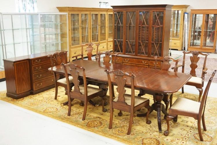 Lot 11 Piece Virginia Galleries Henkel Harris Banded Mahogany Dining Room Set 2 Piece China Cabinet With A Lighted Interior And Glass Shelves Sideboard Table And 8 Ball And Claw Foot